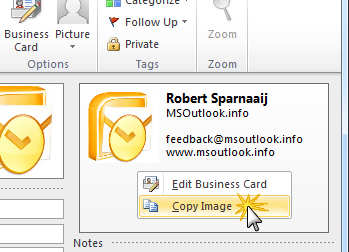 Copying the Business Card image created in Outlook 2007 or 2010