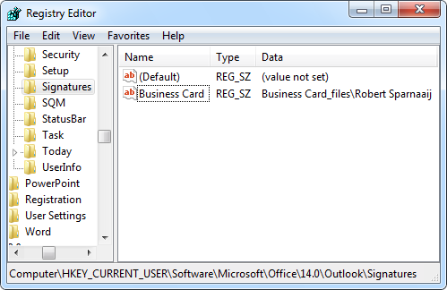 Business Card signature reference in the Registry.