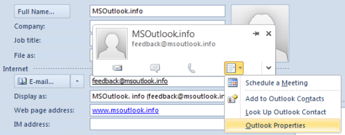 Outlook Properties for Contacts