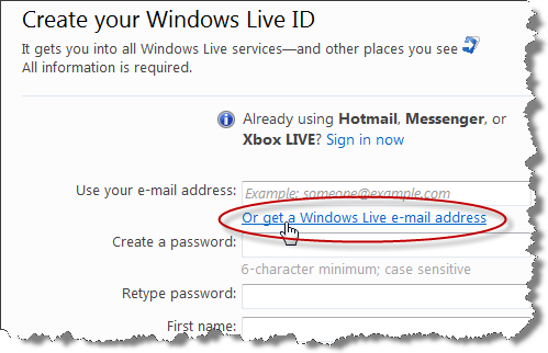 Create Live Hotmail account