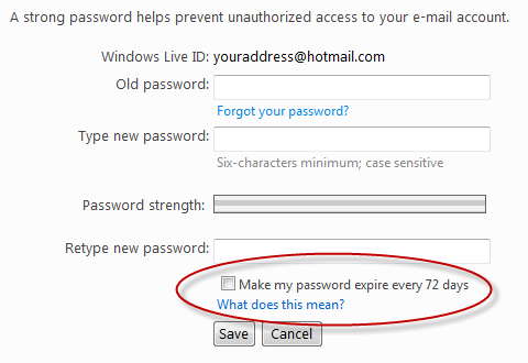 Live Hotmail password expiration