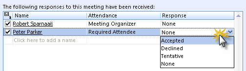 Manual meeting responds tracking
