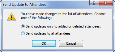 Sending meeting updates to added or removed attendees