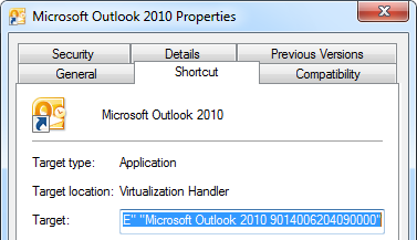 Shortcut properties for Outlook Click-to-Run.