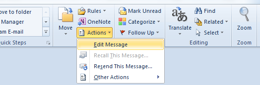 Edit Message command in Outlook 2010