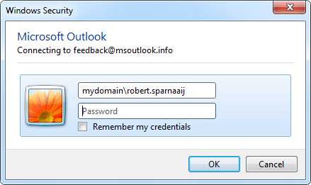 Save credentials for Outlook 2010