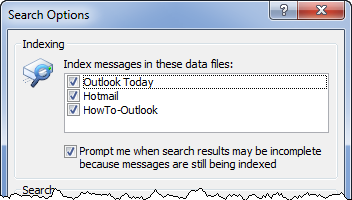 Search Options in Outlook 2007